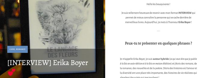 Erika Boyer — L'univers d'une lectrice